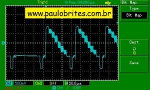 sinal composto de vídeo num osciloscópio digital