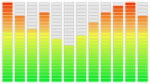 Bargraph de frequências em um aparelho de som