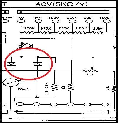 Circuito para medir tensão AC em multímetro analógico
