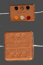 Capacitores de mica prateada da década de 50