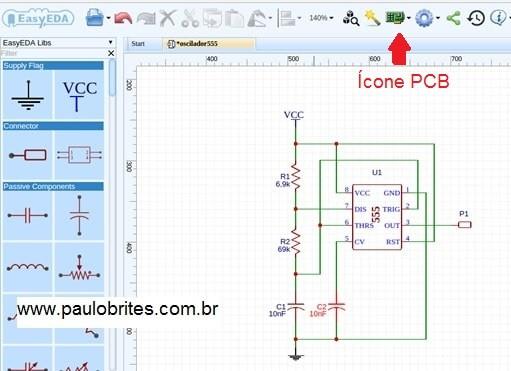 Fig.15 – Esquema do oscilador555 no Editor de esquemáticos