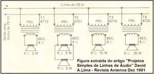 Fig.3 - DISTRIBUIÇÃO DE SOM COM LINHA DE 70v