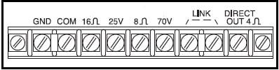 FIG.2 - Terminais de saída de um amplificador com linha de 70V