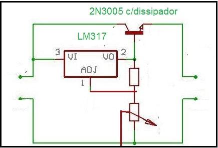 Fig.2 - Circuito LM317 com 2N3055